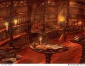 Игра начинается в библиотеке. Свет приглушен. Горят свечи.
