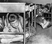 Students during a Nuclear Bomb Drill