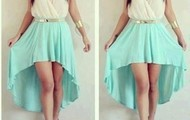 a white with aqua blue dress is the best :)