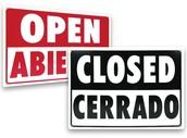 Estamos abiertos de 10:00 y cerrado en 9 P.M