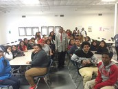 Commissioner Branch with 8th Grade Students