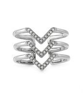 Pave Chevron Ring in Silver