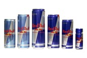 Red bull comes in lots of diffrent sizes