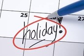 Upcoming Holidays