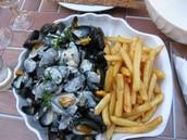 Les fruits de mer et les frites