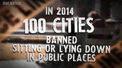 100 cities banned sitting or laying down in public places