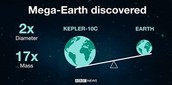 Earth compared to Kepler 10C