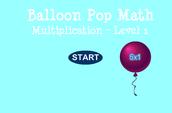 Balloon Pop Math - Multiplication Level 1