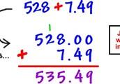 Adding decimals.