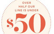 Over half the line is under $50.