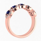 Sapphire and Diamond Halo Ring in Rose Gold
