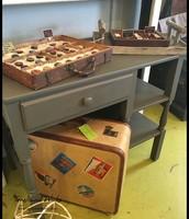 Petite Gray Writing Desk with Shelves - $165