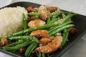 Pollo judías verdes y arroz