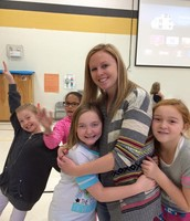 Sharing a hug with Mrs. Bottom during the PBIS celebration.