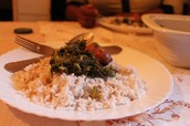 Mushed greens and rice