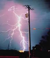 Lightning Hitting the Telephone Pole