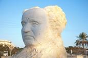 פסלו של דוד בן גוריון ראש הממשלה הראשון של מדינת ישראל.