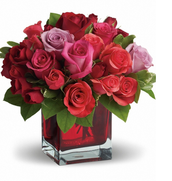 A red vase is common because the color surrounding the holiday are red and different shades of pink.