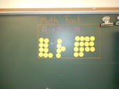 Math fact of the week visually displayed at the concrete and representations level (Elizabeth Hickman's second grade room)