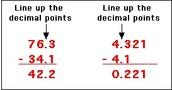 Subtracting decimals.
