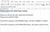Approved/Denied App List