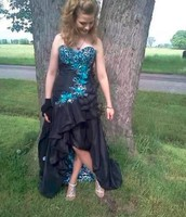 Long Formal Dress in Black and Turquiose