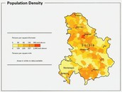 Population per density of Serbia