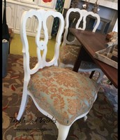 Pair of White Chalk Painted & Upholstered Chairs - $250