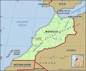 this is a map of Morocco showing its river