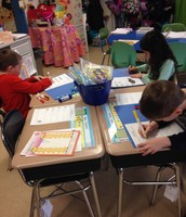 "Writing our acrostic ""Snow"" poems"