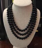 La Coco Black Bead Necklace