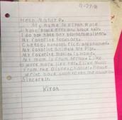 Kiyah's letter