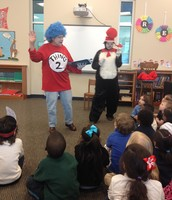 Listening to the story The Cat in the Hat