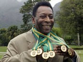 Pele Showing Off his Medals