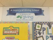 Our A Legacy of Giving banner, hung w/ pride at Pillow!