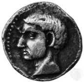 Scipio's head on an ancient coin.