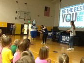Ms. Carr danced for joy when Blue, the Indianapolis Colts mascot, came to visit!