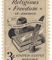 A stamp about the religious freedom for the New England Colony.