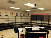 Our choir risers and piano!!
