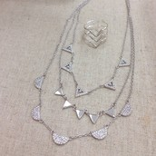 Pave silver necklace