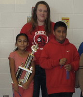 Scholars Jade Marquez (Gr 5) and Daniel Mendoza (Gr 4) with Ms. Albers