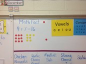 Math Fact of the Week in Tammy McFarland's first grade classroom (note the visual representation).