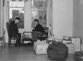 Two men hours before leaving their homes for internment