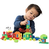 Boys counting blocks/ trains toy