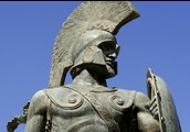 This is a spartan solider statue made to represent the peloponnesian war