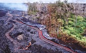 Lava flows as if it is a river