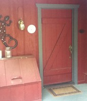 Front door and firewood box