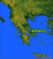Athens on a map