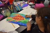Hanan working on her Aboriginal Art Project
