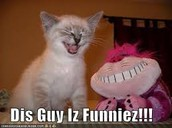 Its funny the cat is laughing and the monster thing is smilimg